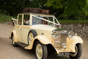 image of a vintage wedding car at Roundwood in Norwich