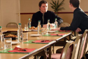 image of 2 businessman having a meeting at Roundwood in Norwich