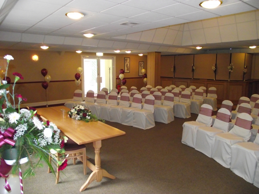 Room set for a ceremony