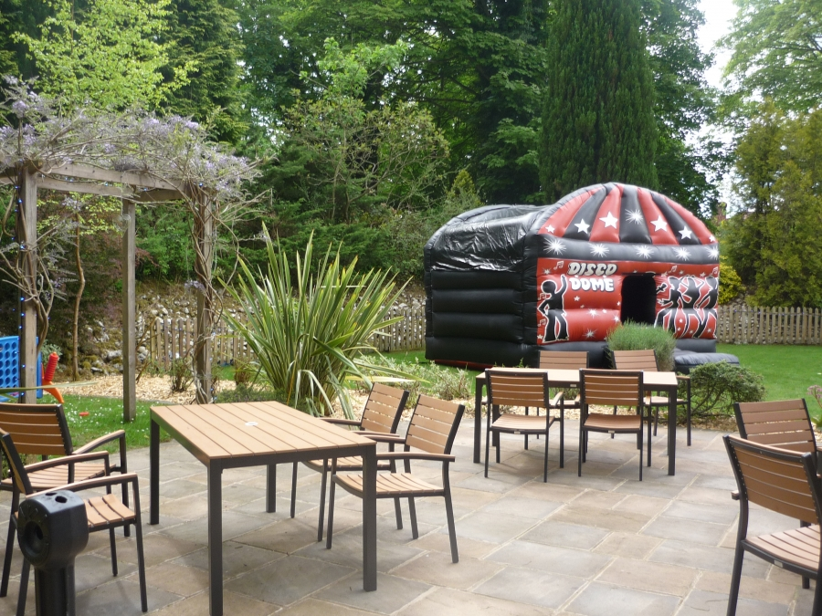 Our garden is perfect for a bouncy castle or disco dome