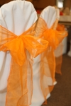 Organza sashes give subtle colour