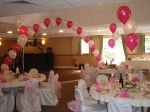 Balloon arch and table decorations