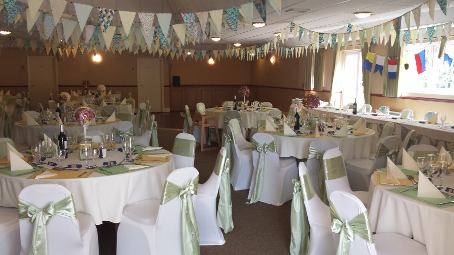 Bunting gives a shabby chic feel.